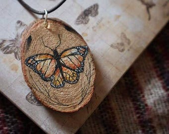 Handpainted Wooden Butterfly Necklace
