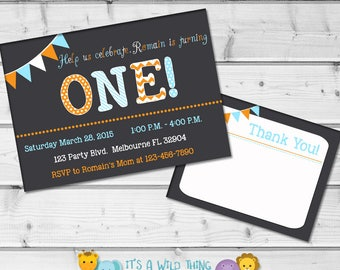 Custom Chalkboard Birthday Invitations for boys Printable First Birthday Invitations Personalized Invitations Second Birthday Invitations