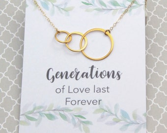 Gold Mother-Daughter-Granddaughter Necklace, Gift for Grandmother, 24k Gold Vermeil Eternity Gold Hoop Charm Three Generation Necklace