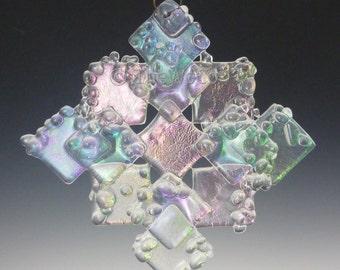 PRISM Crystalline Clear Iridized Snowflake, Fused Glass Ornament Suncatcher