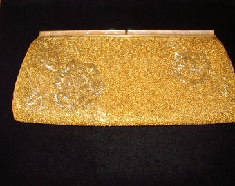 Vintage Gold Beaded Evening Clutch Inlaided Pearl Frame Item #47 Purses