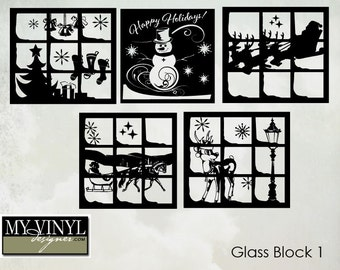 Christmas Vinyl sticker for glass block.  Choose one of the 5 designs shown.