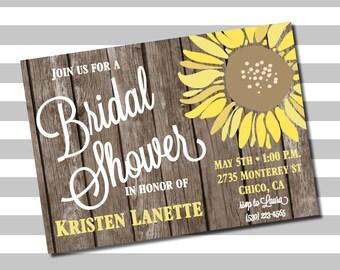 PRINTABLE Sunflower Wood Bridal Shower Invites