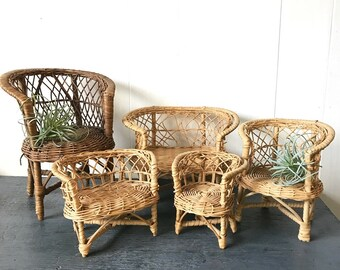 Vintage Mini Wicker Dollhouse Furniture   Rattan Chair Sofa Table   Barbie  Furniture   Boho Plant