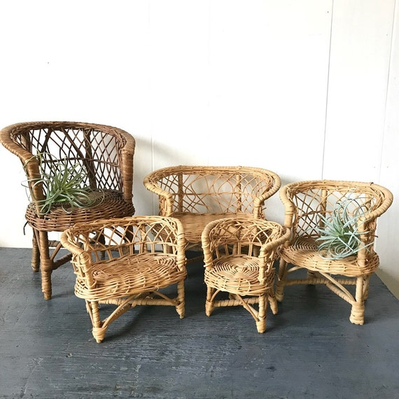 vintage mini wicker dollhouse furniture - rattan chair sofa table - Barbie furniture - boho plant stands