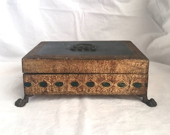ON SALE vintage gold jewelry box Florentine footed jewelry box Italian made gold box Florentine storage box velvet lined green and gold box