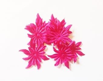 2 FLOWERS OF EDELWEISS SHAPED 35 MM FUCHSIA SILK DUCHESS SATIN