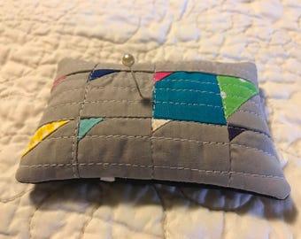 Pin cushion Pin keep modern  patchwork pincushion grey