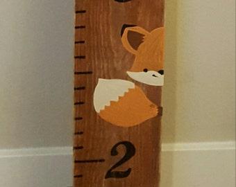 Fox Growth Chart, Wooden Growth Chart, Peekaboo Fox, Nursery Decor, Handpainted Height Chart, Oversized Ruler