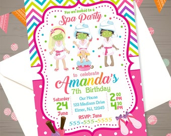 Girls Spa Party Invitation Salon Party Invitation