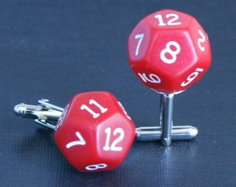 Red 12 Sided Dice Cufflinks d12 Free gift bag Unique Wedding