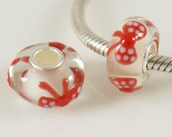 1 Bead - Red White Dot Bow Ribbon Sterling Silver Core .925 Lampwork Glass European Charm Bead GJ5374 LC0024