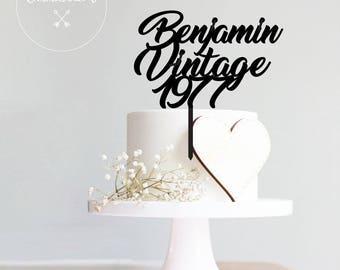 vintage, Custom cake topper, birthday cake topper, birthday, gift