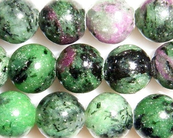 8mm Round Ruby In Zoisite Bead Semiprecious Gemstone Bead String Beading 15''L Jewelry Supply Wholesale Beads