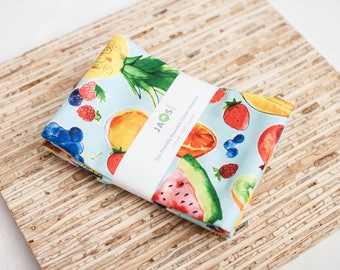 Large Cloth Napkins - Set of 4 - (N2972) - Mixed Fruits Blue Modern Reusable Fabric Napkins