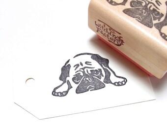 Pug Stamp, Hand Carved Stamp