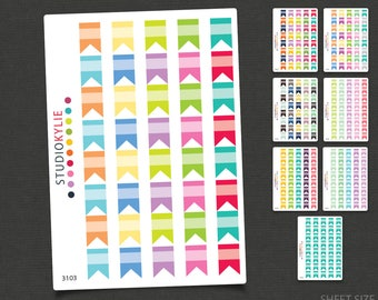 Blank Flag Stickers  - Repositionable Matte Vinyl to suit all planners