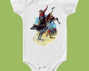 Vintage Western Bullrider by ChiTownBoutique.etsy, Baby Shower Gift, Western style. True Boutique Quality