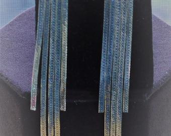 Silver tone Shoulder Duster Chain Pierced Earrings, Vintage (TB408)