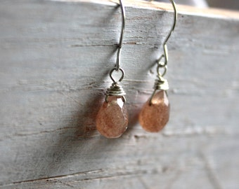 Earthy Gemstone Earrings- Small Brown Quartz Silver Dangle Earrings - Small Everyday Jewelry