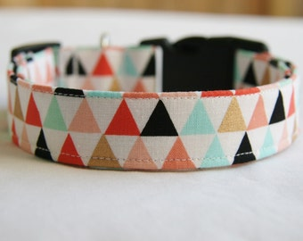 Dog Collar- Coral- Mint- Shimmery Gold Triangles Adjustable Dog- Pet Collar- Pet Supplies-1 inch 1.5 -2 inch width
