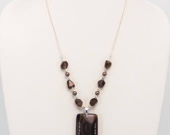 Banded Agate and Smoky Quartz Sterling Silver Necklace