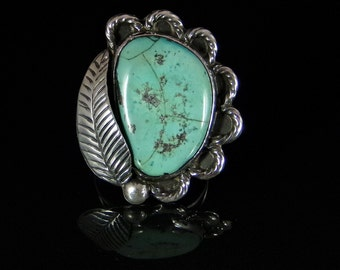 Turquoise Ring Sterling Silver Handmade Size 7.0, R0186