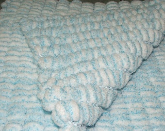 Cozy blanket double tassels - blue and white - handmade - + - 37cm x +-50 cm