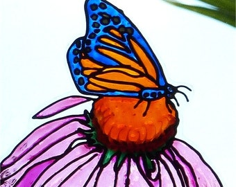 Pink coneflower blue orange butterfly window cling