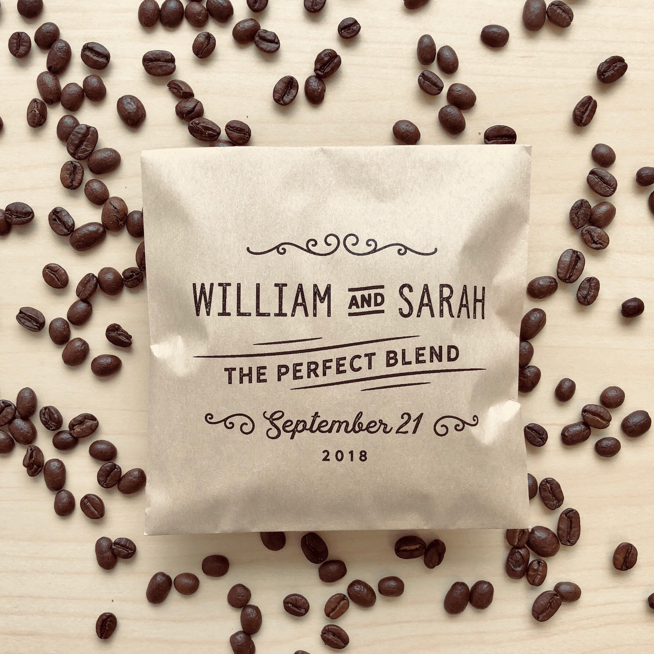 50 Coffee Favor Bags The Perfect Blend Coffee Wedding