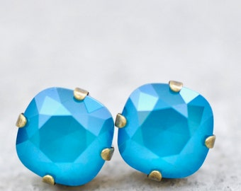 Azure Blue Swarovski Stud Earrings Blue Bridesmaid Earrings Clip on Studs Leverback Monaco Something Blue Wedding Jewelry Bridal Cushion
