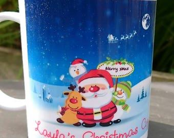 Personalised Children's  Mug - Christmas Design - New - Handmade