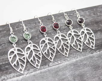 Birthstone Crystal Earrings, Sterling Silver Leaf Earrings with Birthstone Crystals, Choose Your Color