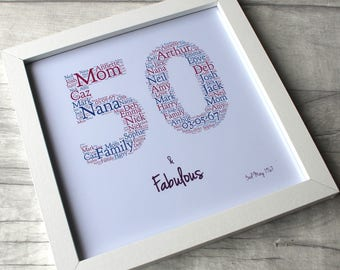 Frame -50 and fabulous-50th birthday gift for women-50th birthday gift-50th birthday-50th-50-50th Birthday Gift for Her - 50th Birthday Idea