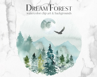 Spruces Pine Trees Deer Watercolor Clipart Fir Trees PNG Christmas Winter Forest Landscape Clip Art Collection Own Elk Birds Moon Mountains
