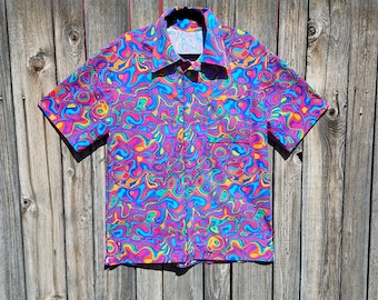 Psychedelic Rainbow Melt with Glow in the Dark Stars Spandex Button Up Party Shirt