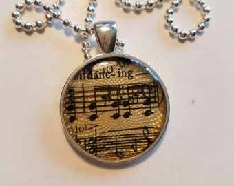 """Vintage Sheet Music Pendant with """"Dancing"""" Lyric & Ball Chain Necklace"""