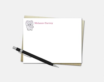 Custom Note Cards - Elephant Notecards - Set of 10 Flat Note Cards - Personalized Gifts for Kids - Kids Stationery
