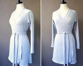 Organic cotton wrap dress with shawl collar light grey or more colors