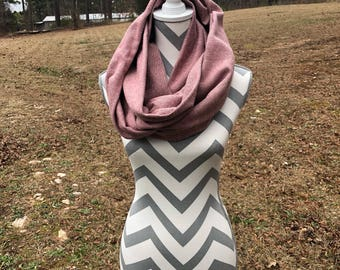 Red&Cream Stripe Flannel Infinity Scarf, Flannel Scarf, Infinity Scarf