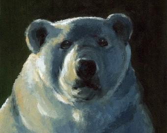 "Bear art, polar bear art, ""I'd like more Ice Please""l Art Print- Polar Bear Art"