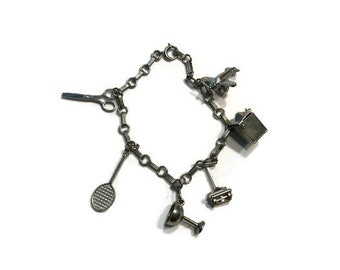 Vintage Charm Bracelet, Hobby Themed Charm Bracelet, Costume Jewelry