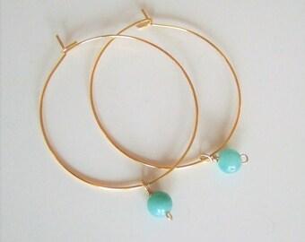 Hoop Earrings,Gift to Her,Green Chalcedony bead,Simle earrings,Minimalist earrings,Bohemian,Hoop jewelry,Chalcedony jewely,Delicate earrings
