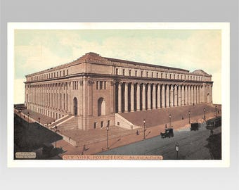 New York City vintage postcard   Farley Post Office Building   1910s antique NY travel, hometown gift, NYC urban apartment decor