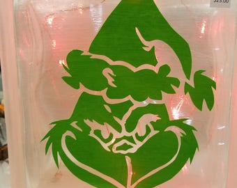 Lighted Glass Block Grinch, Grinch, Scrooge, Christmas, Holiday, Max, Heart