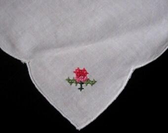 White Hanky, Vintage Hanky, Embroidery Hanky, Flower Girl Hanky, Bride Hanky, Wedding Favor, Vintage Linens, Retro Accessories Something Old