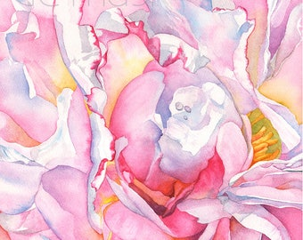 Peony watercolor painting print, 5 by 7 size P25618, Peony print of wtercolor painting, Large floral print, Botanical art print