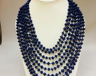 Lapis string necklace