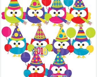 happy new year clipart clip art new years - Happy New Year Owls Digital Clip Art - BUY 2 GET 2 FREE