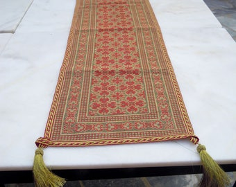 Handmade cross-stitched runner - Elaborate Byzantine style design- Gold thread stitched - Living room/ dining table decoration-OOAK - 233